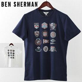 ベンシャーマン メンズ Tシャツ アイビー バッジ Ben Sherman 2019 新作 2色 ホワイト ネイビー プレゼント ギフト
