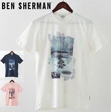 ベンシャーマンメンズTシャツBenShermanプロムナード19SS新作3色ホワイトライトピンクダークネイビープレゼントギフト