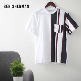 ベンシャーマン メンズ Tシャツ ストライプ バーティカル 20SS 新作 Ben Sherman ホワイト レギュラーフィット ギフト