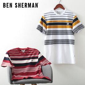ベンシャーマン メンズ Tシャツ リバース ニット ストライプ 20SS 新作 Ben Sherman スノーホワイト レッド レギュラーフィット ギフト