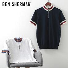 ベンシャーマンメンズジップニットサークルトップ20SS新作BenSherman2色ダークネイビースノーホワイトレギュラーフィットプレゼントギフト