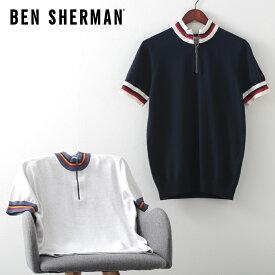 ベンシャーマン メンズ ジップ ニット サークル トップ 20SS 新作 Ben Sherman 2色 ダークネイビー スノーホワイト レギュラーフィット ギフト