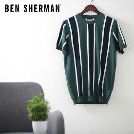ベンシャーマン メンズ クルーネック ニット バーティカル ストライプ 20SS 新作 Ben Sherman トレッキンググリーン レギュラーフィット ギフト