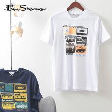 BenShermanベンシャーマンメンズTシャツ半袖ロストテーププリント21SS新作2色ホワイトマリンオーガニックコットンレギュラーフィットイギリスギフトトラッド