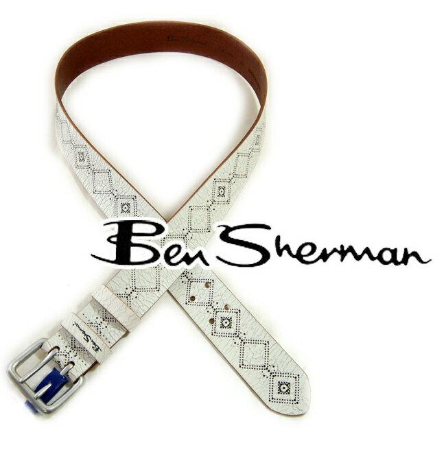ベンシャーマン Ben Sherman メンズ 本革 レザー ベルト 【送料無料】 ベンシャーマン Ben Sherman ホワイト ブラック POINTELLE LETHER BELT 幾何学 バックル UK モッズ モッズファッション モッズ系 *m *l t608 プレゼント ギフト クリスマス
