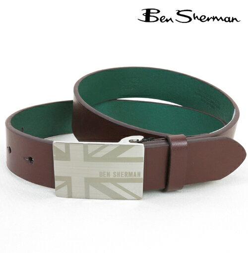 ベンシャーマン Ben Sherman ユニオンジャック バックル プレート 本革レザー ベルト メンズ プレゼント ギフト クリスマス