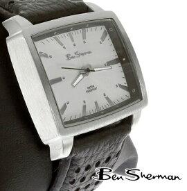 ベンシャーマン Ben Sherman シルバー ホワイト レクタングル 横長 フェイス 腕時計 メンズ 【送料無料】 モッズ ファッション Silver White Rectangle Face 本革 レザー ベルト Leather パンチング 飾り穴 腕 時計 アナログ ウォッチ UK モッズ r923 ギフト