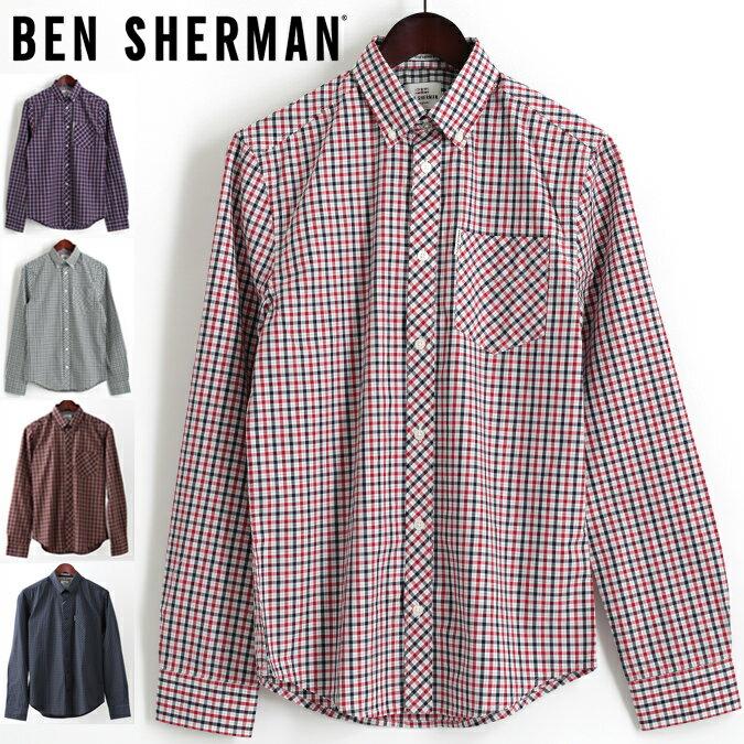 セール ベンシャーマン Ben Sherman 長袖シャツ ハウスチェック 3色 ダークブルー レッド グラスグリーン レギュラーフィット メンズ プレゼント ギフト 父の日
