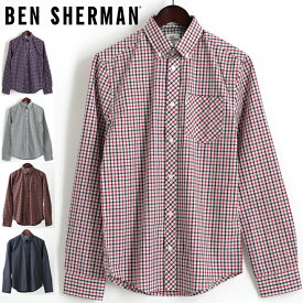 ベンシャーマン メンズ 長袖シャツ Ben Sherman ハウスチェック 5色 ブルー レッド グリーン ブラウン レギュラーフィット プレゼント ギフト