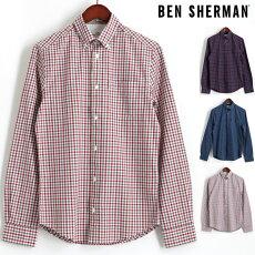 ベンシャーマンBenSherman長袖シャツハウスギンガムチェック17AW新作4色コバルトダークレッドダスキーブルーオフホワイトレギュラーフィットメンズプレゼントギフト