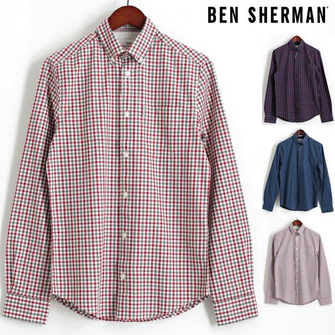 Fセール ベンシャーマン Ben Sherman 長袖シャツ ハウスギンガムチェック 4色 コバルト ダークレッド ダスキーブルー オフホワイト レギュラーフィット メンズ プレゼント ギフト