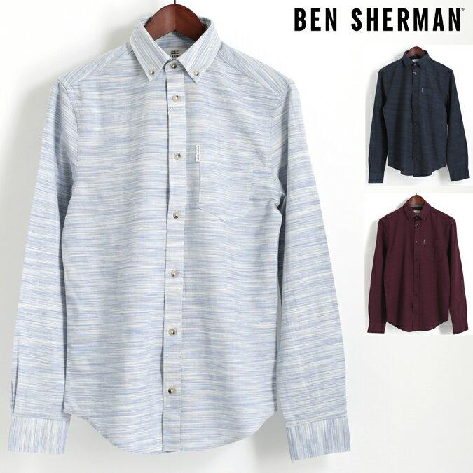 Fセール ベンシャーマン Ben Sherman 長袖シャツ オックスフォード スペースダイ 3色 ホワイト ブラック ワイン レギュラーフィット 絣染め ボタンダウン メンズ プレゼント ギフト