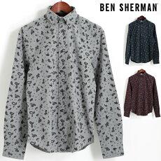 ベンシャーマンBenSherman長袖シャツマールペイズリー17AW新作3色シルバーグレーダークネイビーワインレギュラーフィットボタンダウンメンズプレゼントギフト