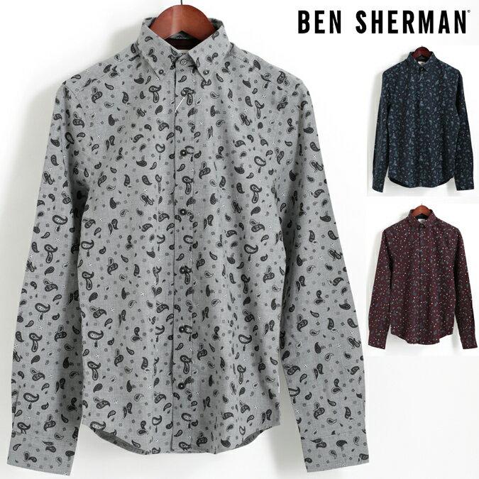 セール ベンシャーマン Ben Sherman 長袖シャツ マールペイズリー 3色 シルバーグレー ダークネイビー ワイン レギュラーフィット ボタンダウン メンズ プレゼント ギフト 父の日