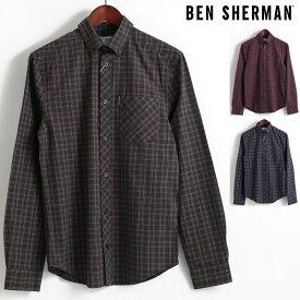 ベンシャーマン Ben Sherman 長袖シャツ マール タータンチェック 3色 ダークグリーン ワイン ダークネイビー レギュラーフィット ボタンダウン メンズ プレゼント ギフト