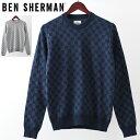 ラストセール ベンシャーマン メンズ セーター Ben Sherman ギンガム アブストラクト 2色 シルバーグレー ダークブル…