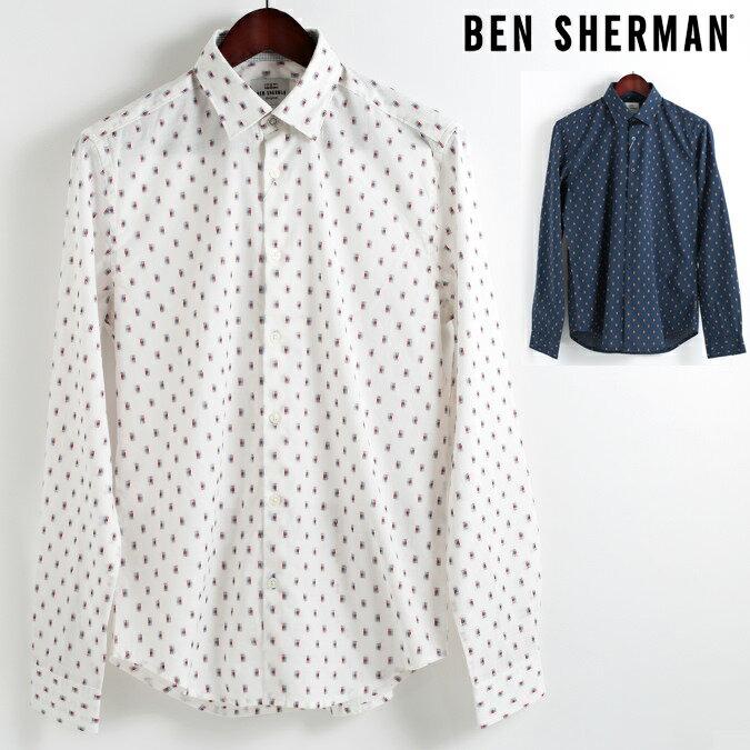 ベンシャーマン Ben Sherman 長袖シャツ クリップ 2色 2018 新作 スリムフィット SOHO Slim Fit 隠れボタンダウン メンズ プレゼント ギフト クリスマス モッズファッション