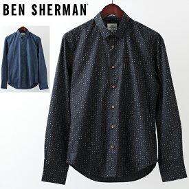 ベンシャーマン メンズ 長袖シャツ Ben Sherman ジオプリント 2色 ブルー ネイビー スリムフィット 幾何学模様 プレゼント ギフト