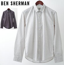 ベンシャーマンメンズ長袖シャツBenShermanジオプリント18AW新作2色ホワイトダークブルーレギュラーフィット幾何学模様プレゼントギフトクリスマス