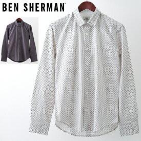ベンシャーマン メンズ 長袖シャツ Ben Sherman ジオプリント 2色 ホワイト ダークブルー レギュラーフィット 幾何学模様 プレゼント ギフト