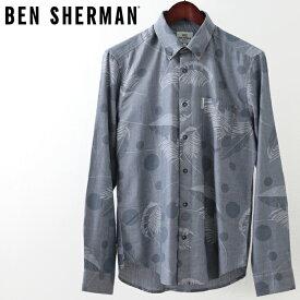 ベンシャーマン メンズ 長袖シャツ Ben Sherman トロピカル スポット ダークネイビー レギュラーフィット ヤシの木 パーム プレゼント ギフト