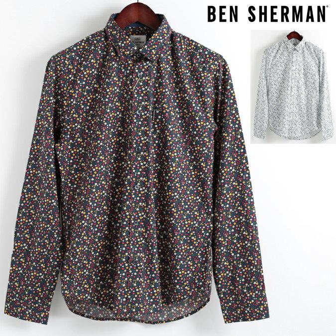 ベンシャーマン Ben Sherman 長袖シャツ 花柄シャツ マイクロ フローラル 2色 18SS 新作 レギュラーフィット MOD Regular Fit 隠れボタンダウン メンズ プレゼント ギフト モッズファッション 父の日