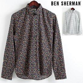 ベンシャーマン Ben Sherman 長袖シャツ 花柄シャツ マイクロ フローラル 2色 レギュラーフィット MOD Regular Fit 隠れボタンダウン メンズ プレゼント ギフト モッズファッション