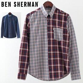 ベンシャーマン メンズ 長袖シャツ チェックシャツ ミックスチェック Ben Sherman 2019 新作 2色 ダークネイビー ライトピンク レギュラーフィット プレゼント ギフト