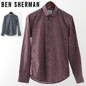ベンシャーマン メンズ 長袖シャツ 花柄シャツ アイビーフローラル Ben Sherman 2019 新作 2色 ネイビー ワイン スリムフィット プレゼント ギフト クリスマス