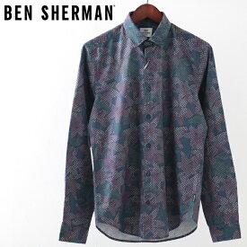 ベンシャーマン メンズ 長袖シャツ トロピカルジオ 花柄シャツ Ben Sherman 花柄 ダークブルー レギュラーフィット ギフト
