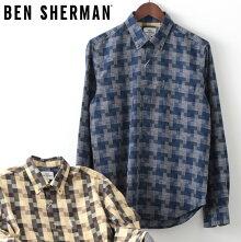 ベンシャーマンメンズ長袖シャツチェックテクスチャードBenSherman19AW新作2色タンネイビーレギュラーフィットプレゼントギフト