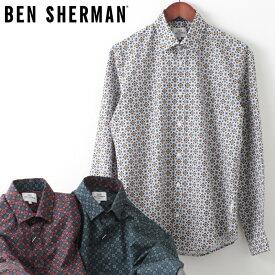ベンシャーマン メンズ 長袖シャツ ジオメトリック フーラード Ben Sherman 20SS 新作 3色 ディジョン フォレスト ラスト レギュラーフィット ギフト