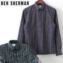 ベンシャーマンメンズ長袖シャツタータンチェックBenSherman19AW新作2色ミッドナイトフォレストレギュラーフィットプレゼントギフト