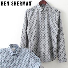 ベンシャーマン メンズ 長袖シャツ ジオメトリック スキャッタード フェアアイル Ben Sherman 20SS 新作 2色 ダークブルー スモーク スリムフィット ギフト