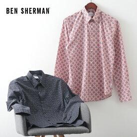 ベンシャーマン メンズ 長袖シャツ 花柄シャツ フローラル デジ 20SS 新作 Ben Sherman 2色 ダークネイビー ピーチ スリムフィット ギフト