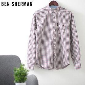 ベンシャーマン メンズ 長袖シャツ ハウスチェック シグネチャー 20SS 新作 Ben Sherman レッド レギュラーフィット ギフト