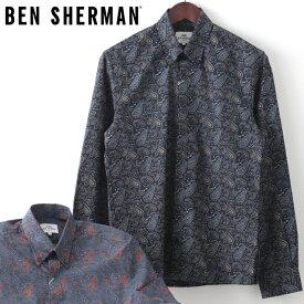 ベンシャーマン メンズ 長袖シャツ ペイズリー クラシック Ben Sherman 20SS 新作 2色 アントラシート ダークネイビー レギュラーフィット ギフト