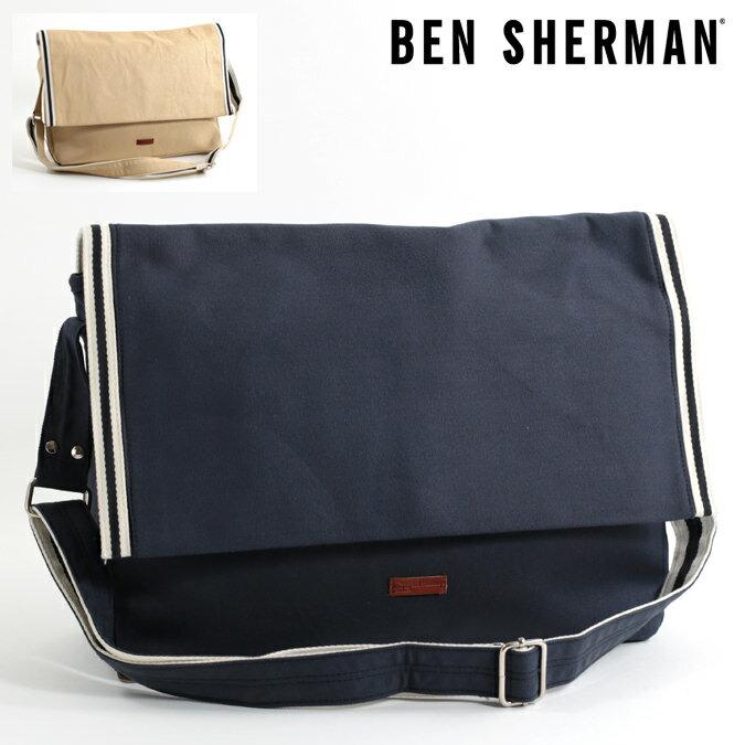 セール ベンシャーマン Ben Sherman メッセンジャーバッグ キャンバス 47x29x13cm バッグ 2色 ネイビー オートミール メンズ レディース プレゼント ギフト
