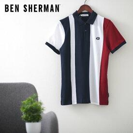 ベンシャーマン メンズ ポロシャツ ポロ ブロック ストライプ 20SS 新作 Ben Sherman ダークネイビー レギュラー フィット ギフト