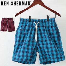 ベンシャーマン メンズ 海パン 水着 スイムショーツ ギンガムチェック Ben Sherman 2色 ウォッシュドブルー レターボックスレッド モッズ プレゼント ギフト クリスマス