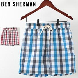 ベンシャーマン メンズ 海パン 海水パンツ 水着 スイムショーツ ハウスギンガムチェック Ben Sherman 2色 ドーンレッド ディレクトワールブルー モッズ プレゼント ギフト