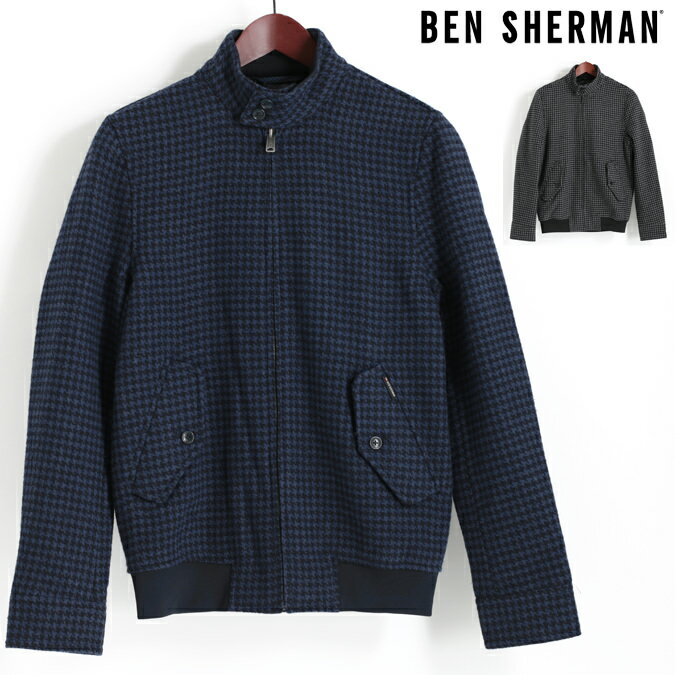 ベンシャーマン Ben Sherman ハリントンジャケット スウィングトップ ウール ブルゾン ドッグトゥース 千鳥格子 17AW 新作 2色 ネイビー チャコール メンズ プレゼント ギフト