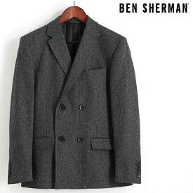 ベンシャーマン Ben Sherman ブレザージャケット テーラードジャケット ダブルボタン ウール ピーコート ブラック メンズ プレゼント ギフト クリスマス