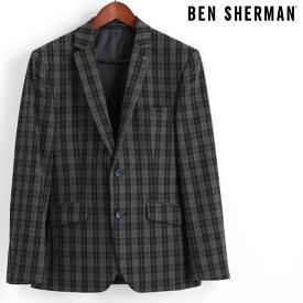 ベンシャーマン Ben Sherman ブレザージャケット テーラードジャケット ウール チェッカー グレー メンズ ギフト