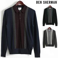 ベンシャーマンBenShermanロングポロシャツカラーブロック17AW新作3色ブラックネイビーダークグレーメンズ長袖プレゼントギフト