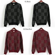 ベンシャーマンBenShermanセータークルーネックチェックバッファロー18SS新作2色ブラックダークレッドメンズプレゼントギフト