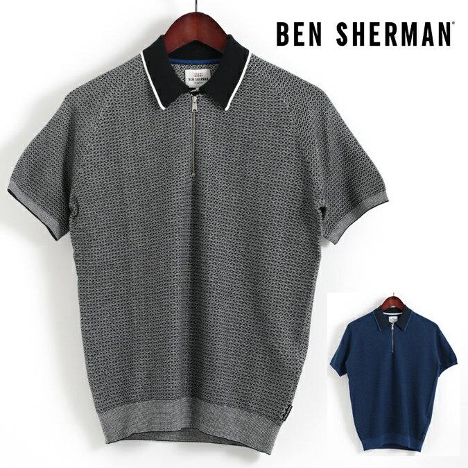 ベンシャーマン Ben Sherman ポロシャツ マイクロギンガム ジップ 2色 ニットポロ 2色 18SS 新作 メンズ プレゼント ギフト