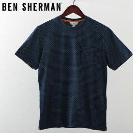 ベンシャーマン メンズ Tシャツ ピンドット 水玉 Ben Sherman 2019 新作 ダークブルー プレゼント ギフト