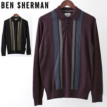 ベンシャーマンBenShermanロングポロシャツカラーブロックメリノウール18AW新作2色ブラックワインメンズプレゼントギフト