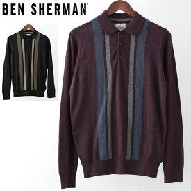 ベンシャーマン Ben Sherman ロングポロシャツ カラーブロック メリノウール 2色 ブラック ワイン メンズ プレゼント ギフト クリスマス